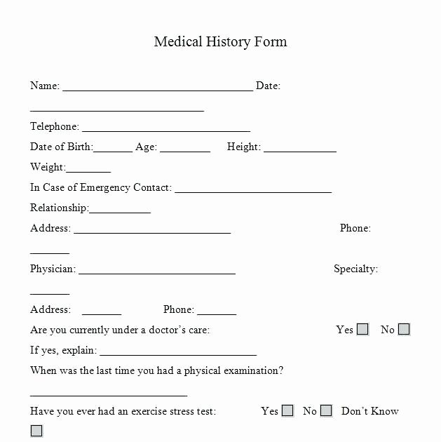 Health History Template