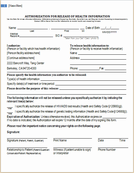Health Information Release Authorization form