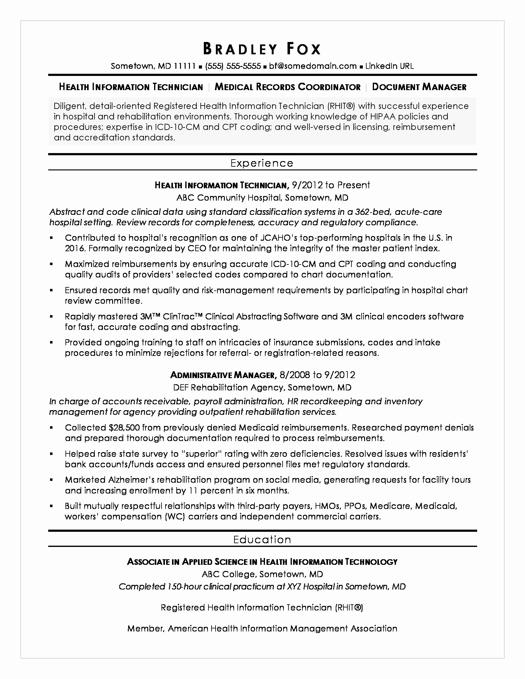 Health Information Technician Sample Resume