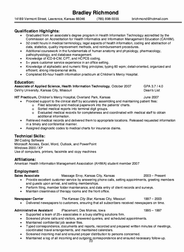 Health Information Technology Resume Sample
