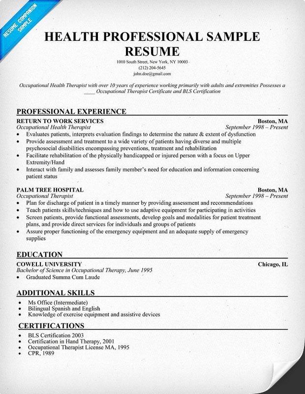 Health Professional Sample Resume Resume Panion