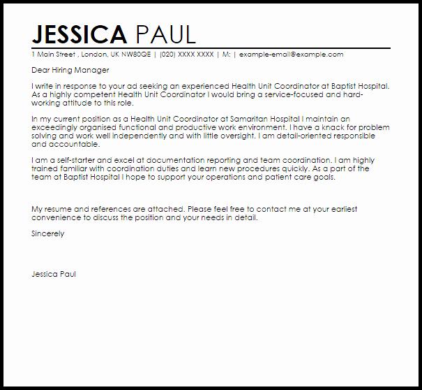 Health Unit Coordinator Cover Letter Sarahepps