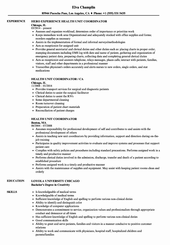 Health Unit Coordinator Resume Samples