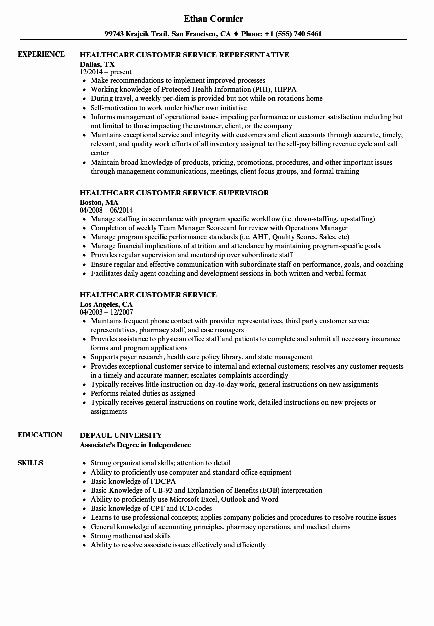 Healthcare Customer Service Resume Samples