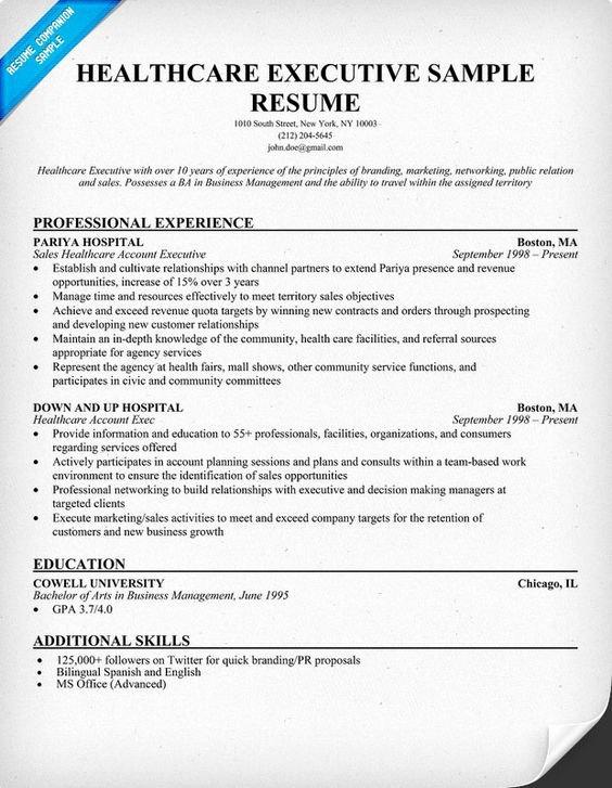 Healthcare Executive Resume