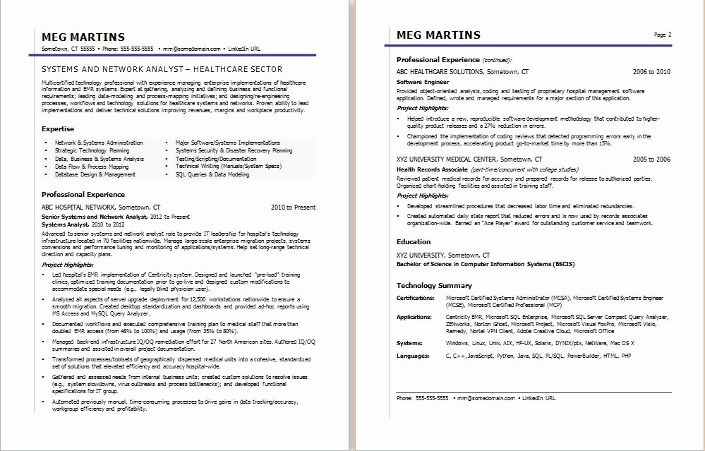 Healthcare It Resume Sample