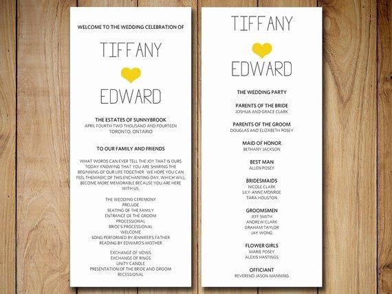 Heart Wedding Program Template Download Diy Typography