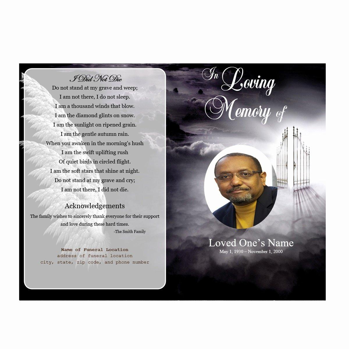 Heaven Single Fold Memorial Program Funeral Pamphlets