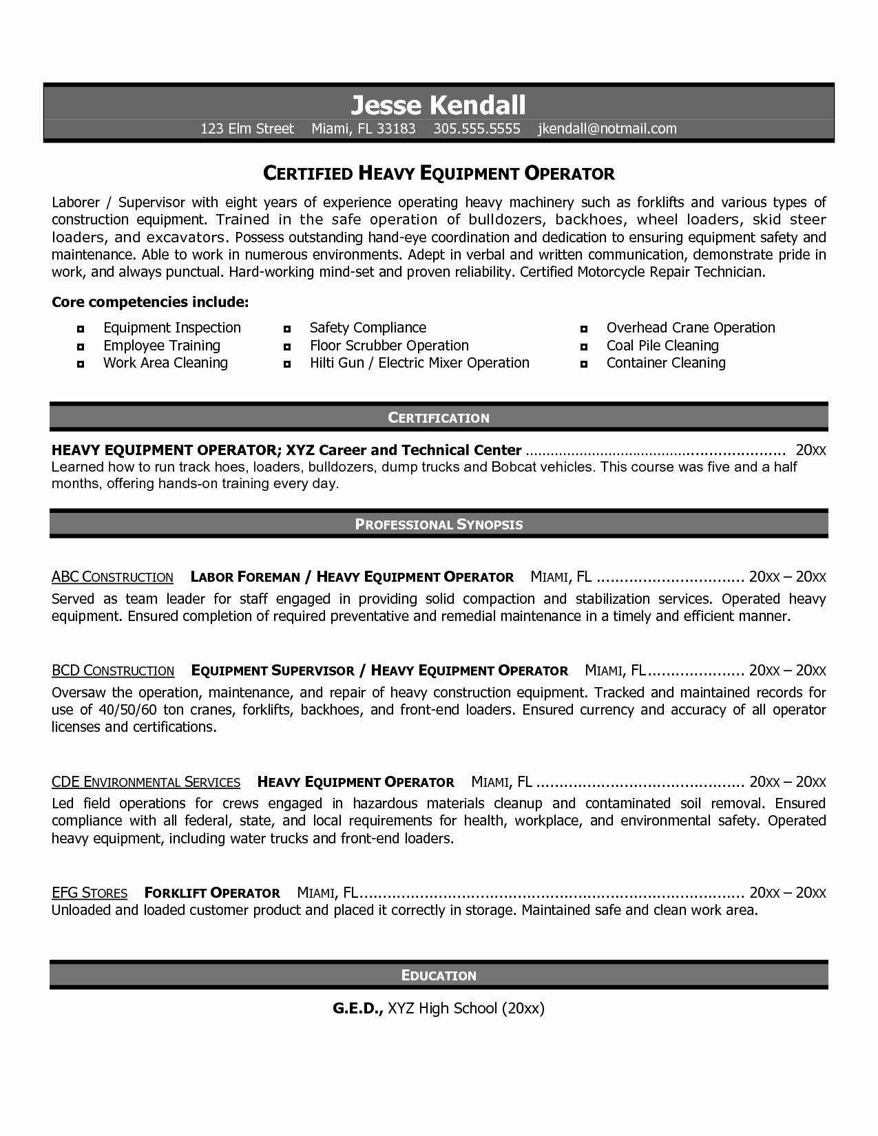 Heavy Equipment Operator Resume Objective