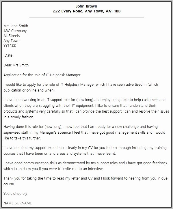Help Desk Manager Cover Letter Examples Cover Letter