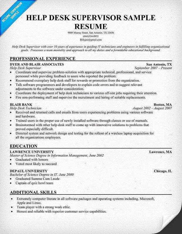 Help Desk Support Resume format