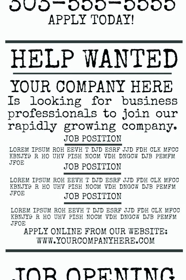Help Wanted Ad Job Template for Moms 5 Pany Fer Flyer