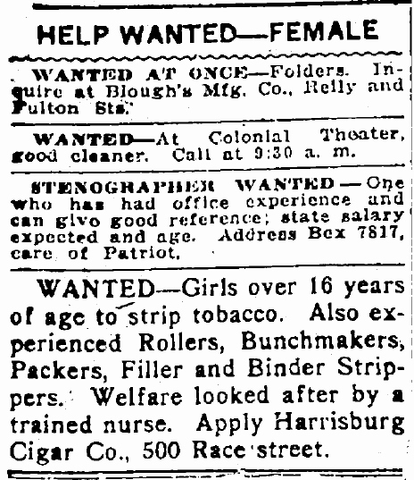 Help Wanted Female Classified Ads Working Women Ancestors