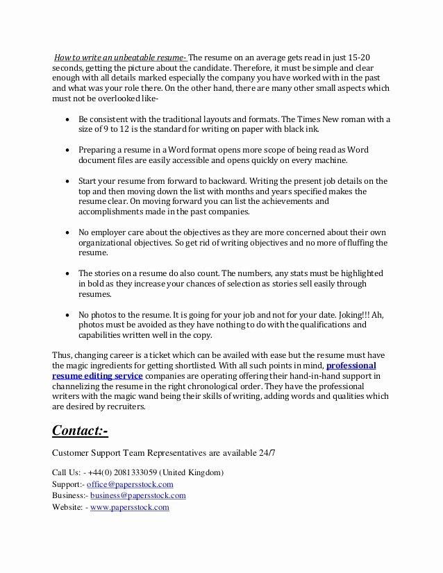 Help Write Resume