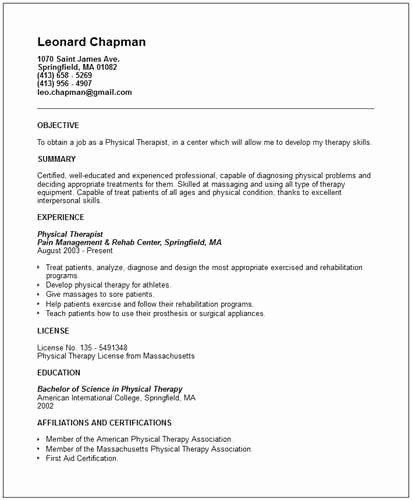Here are the Guidelines to Create A Physical therapist Resume