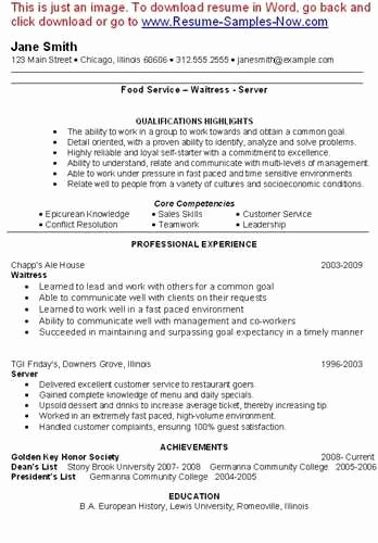 Here is Link for This Sample Waitress Resume