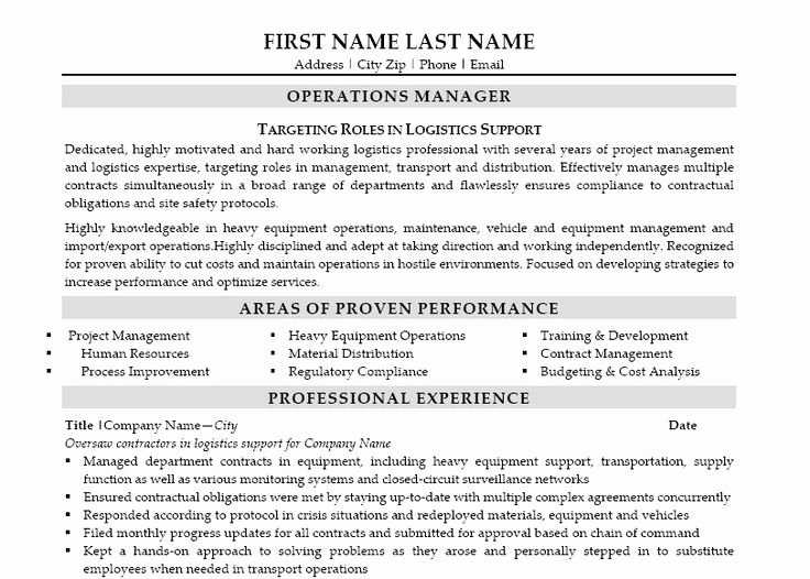 Here to Download This Operations Manager Resume