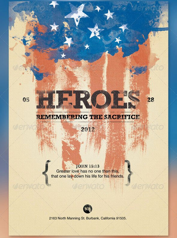 Heroes Memorial Day Flyer and Cd Template by Loswl On