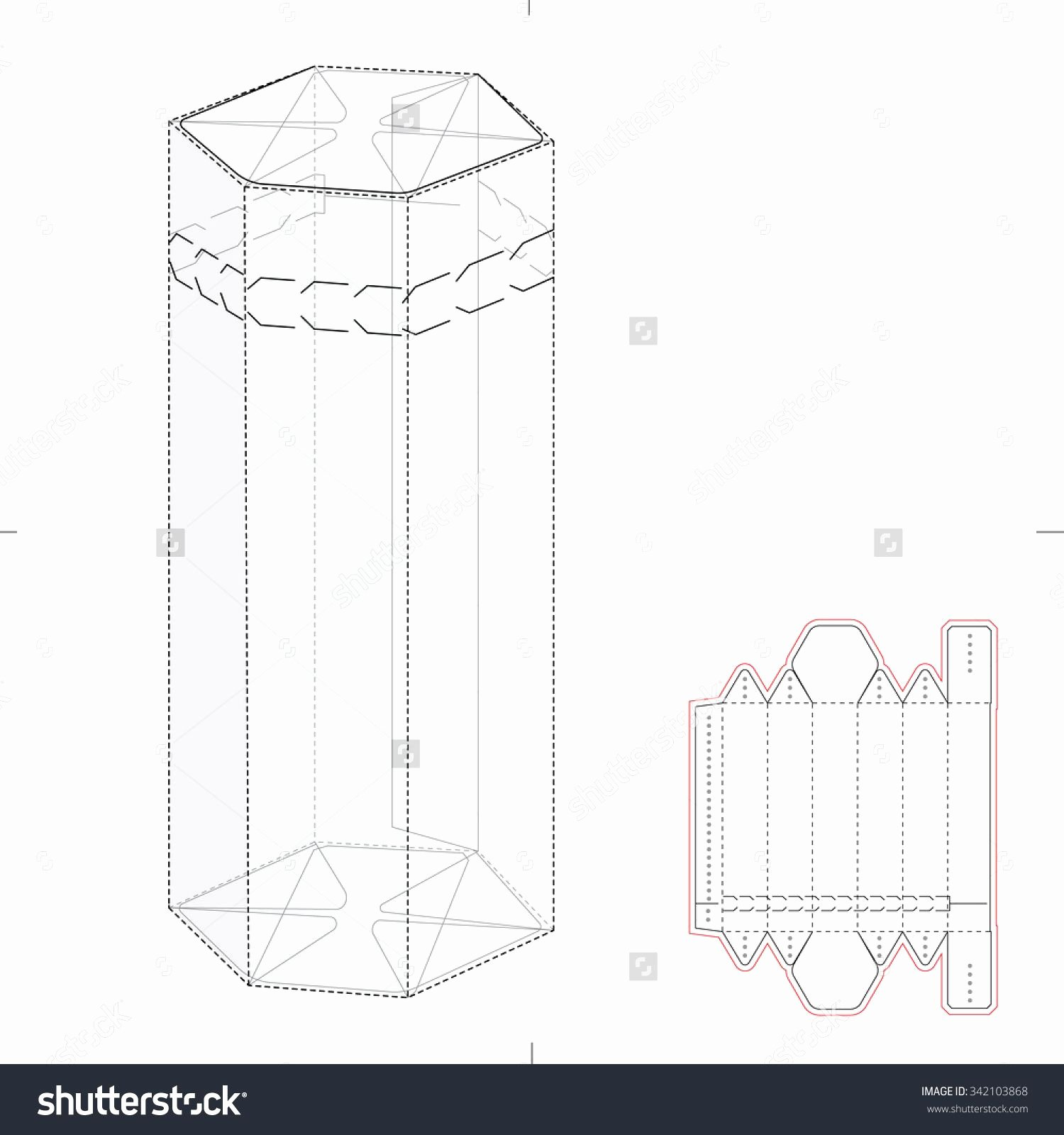 Hexagonal Box with Die Cut Template Stock Vector