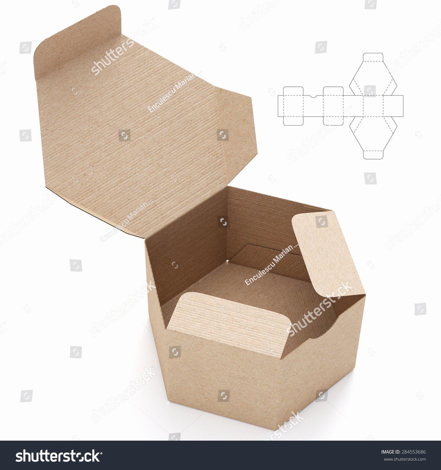 Hexagonal Cardboard Open Box Box Die Stock Illustration