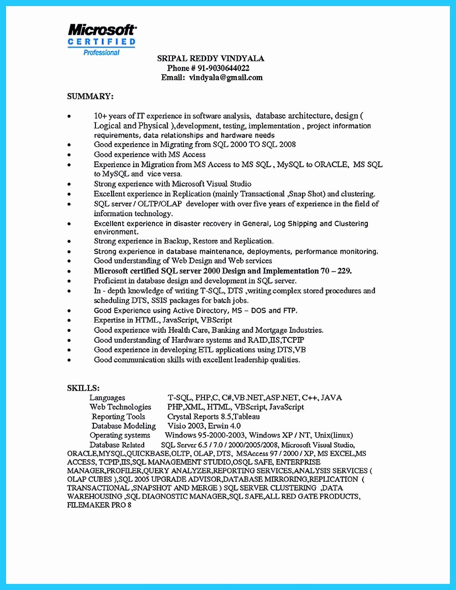 High Impact Database Administrator Resume to Get Noticed
