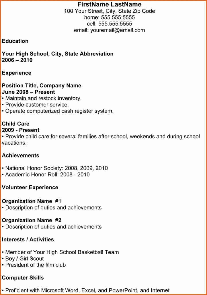 High Resume Template for College