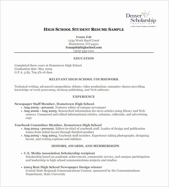 High School Awards Resume Best Resume Collection