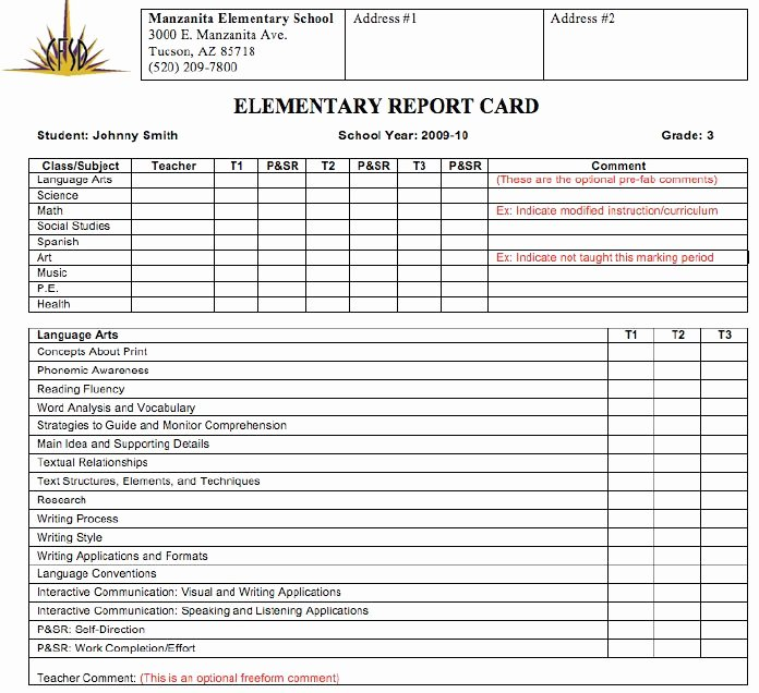 High School Blank Report Card to Pin On Pinterest
