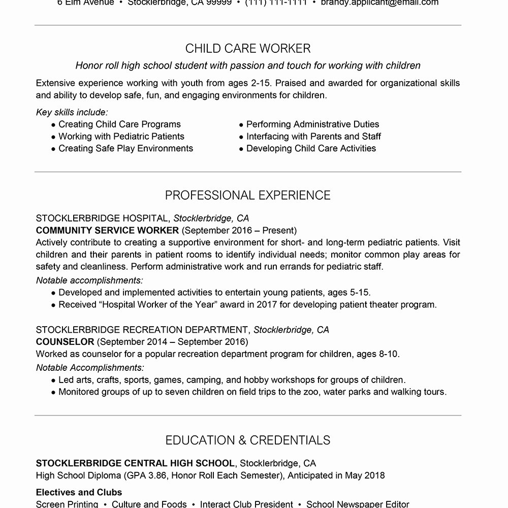 High School Resume Example with Summary