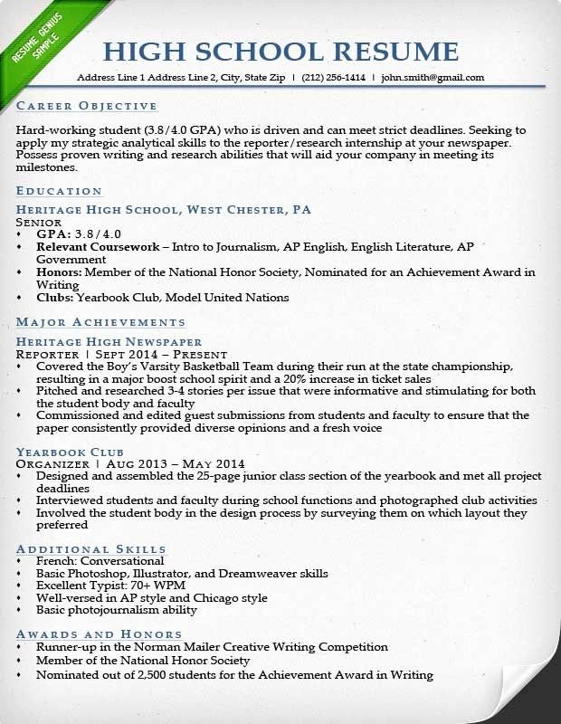 High School Resume Samples Best Resume Collection