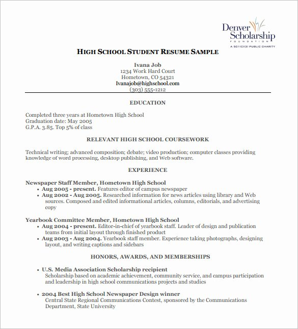 High School Resume Template 9 Free Word Excel Pdf