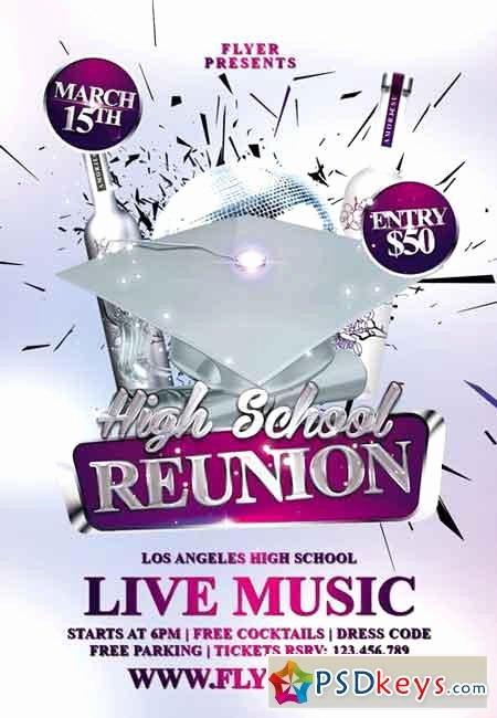 High School Reunion Premium Flyer Template Free