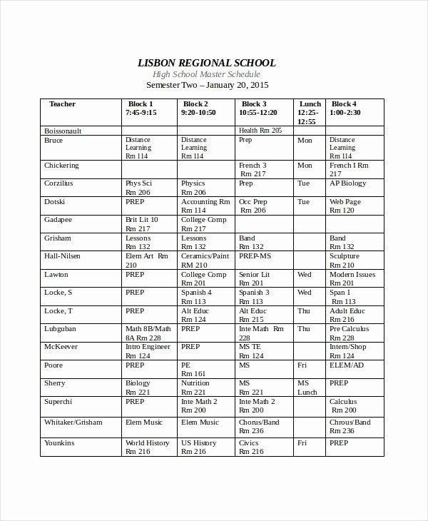 High School Schedule Template 1000 Ideas About Schedule