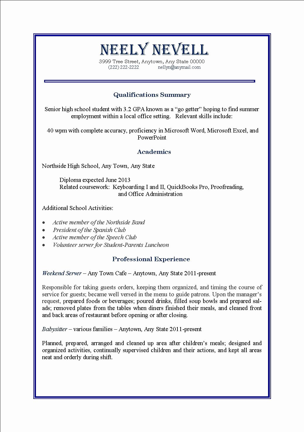 High School Student First Time Job Resume – Perfect Resume