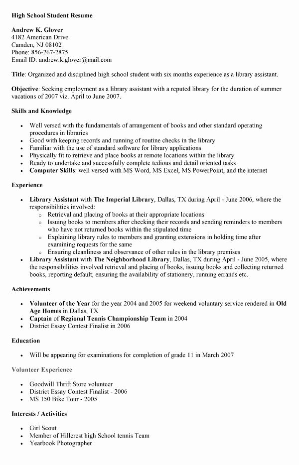 High School Student Resume Skills Best Resume Collection