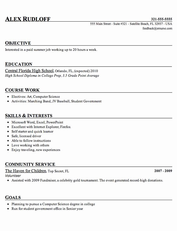 High School Student Resume Template Tips 2018
