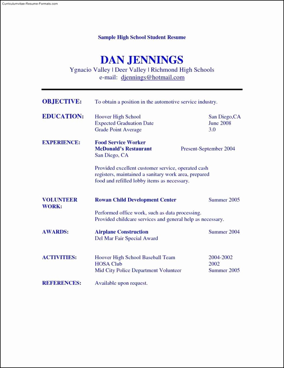 High School Student Resume Templates Free Samples