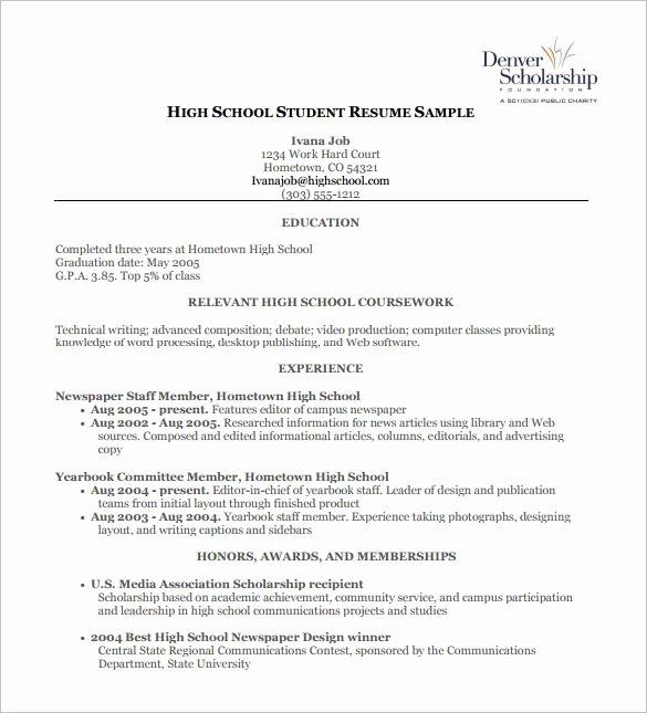 High School Work Resume Best Resume Collection