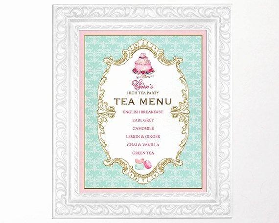 High Tea Party Menu Sign Kitchen Tea Bridal Shower Sign French