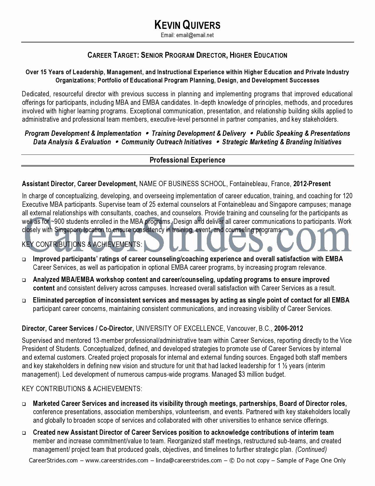 Higher Ed Resume Examples Sidemcicek