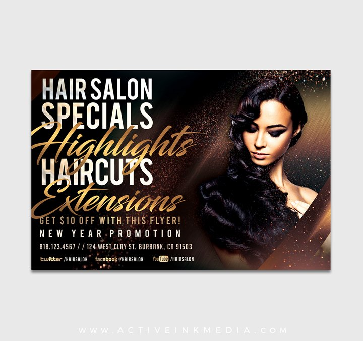 Highlights Hair Stylist Salon Flyer Template