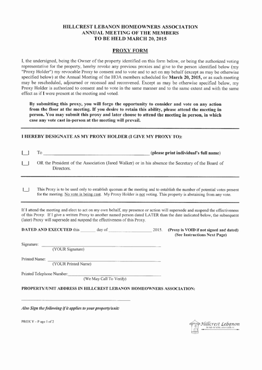 Hillcrest Lebanon Hoa 2014 Annual Meeting Proxy form