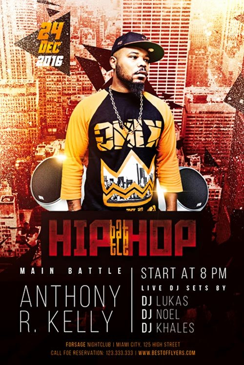 Hip Hop Battle Free Flyer Template Download Club and