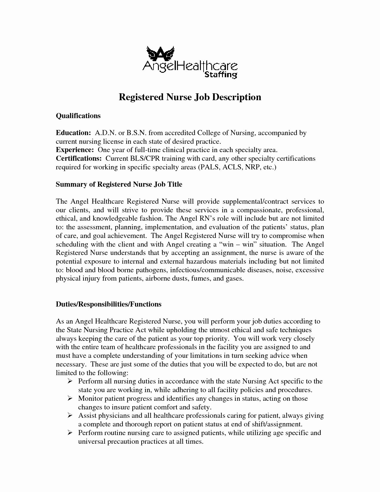Hiring Registered Nurse Job Description Sample