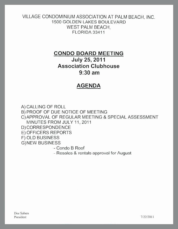 Hoa Meeting Agenda Template Annual Samples – Deepwatersfo