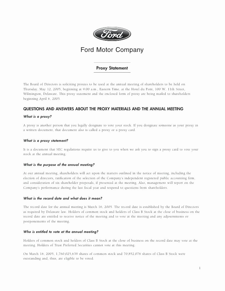 Hoa Proxy Vote form Template 6 ford Motor Pany Voting