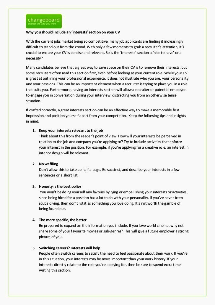 Hobbies and Interests Cv Resume Template