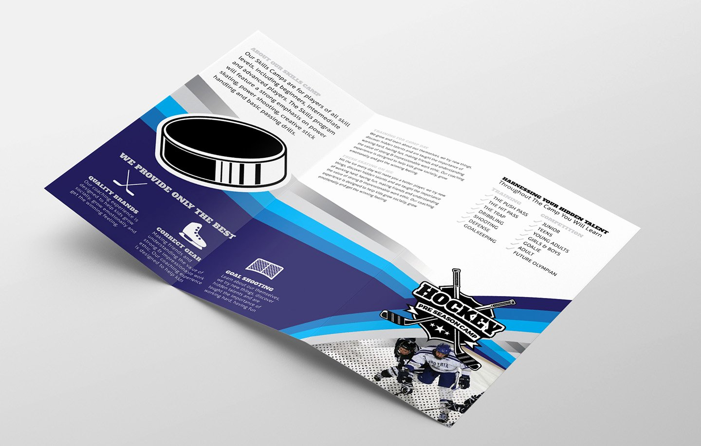 Hockey Club Tri Fold Brochure Template In Psd Ai & Vector