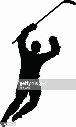 Hockey Goal Celebration Silhouette Vector Art