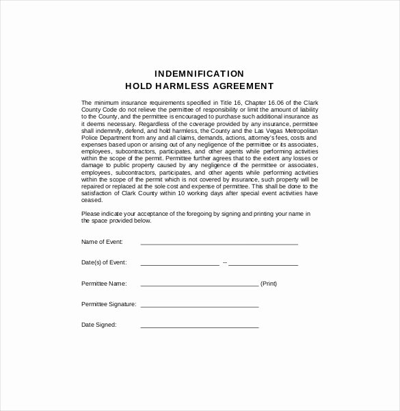Hold Harmless Agreement Template – 13 Free Word Pdf